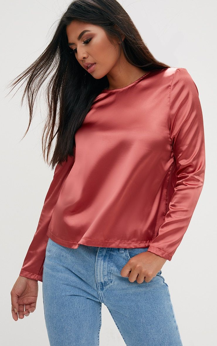 be068b41 Tobacco Satin Crew Neck Longsleeve Top | POSE IDEAS in 2019 | Tops ...
