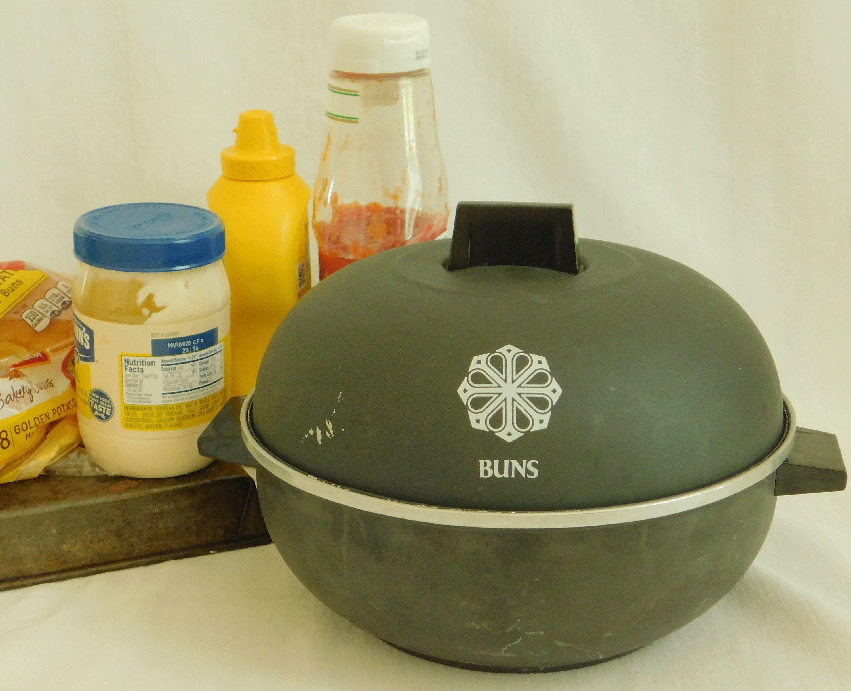 Vintage Black Mirro Bun Warmer Server Two Handles Colander