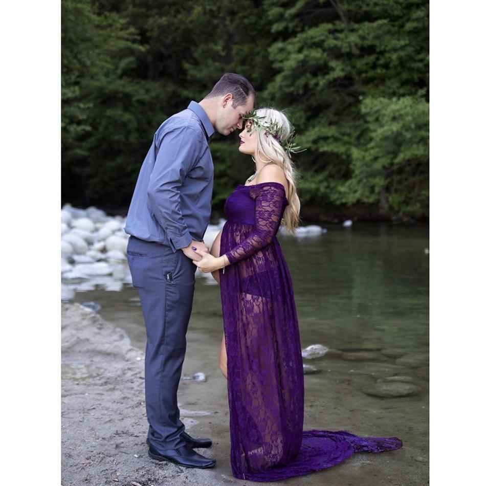 6bd53b3208071 Mom to Be Baby Bump Pregnancy Portrait Dress / Maternity Photo Shoot Prop  Split Front All Lace Gown Plum Red/ Maroon Fall Winter Baby Shower Gift  Expecting ...