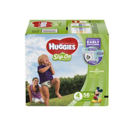 Huggies Little Movers Slip-On Diaper Pants, Size 4 (Choose Diaper Count), Multicolor