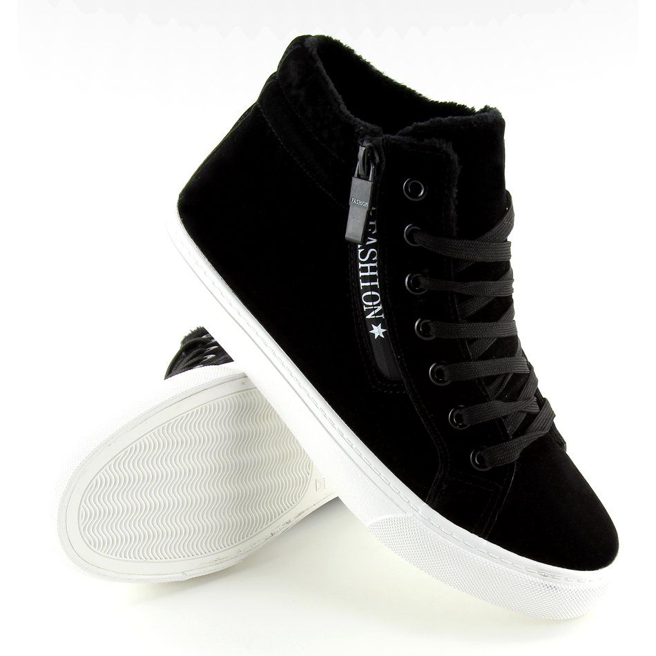 Trampki Za Kostke Ocieplane Czarne W 3072 Black Sneakers Wedge Sneaker Shoes
