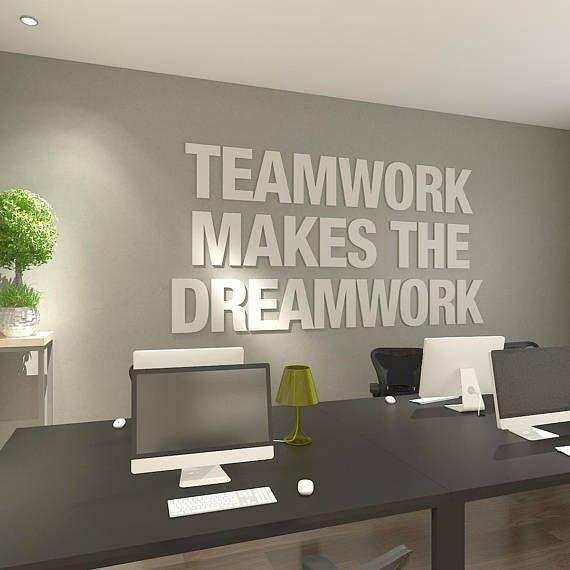Teamwork Makes The Dreamwork 3d Office Wall Art Typography Etsy Office Wall Design Business Office Decor Office Wall Art