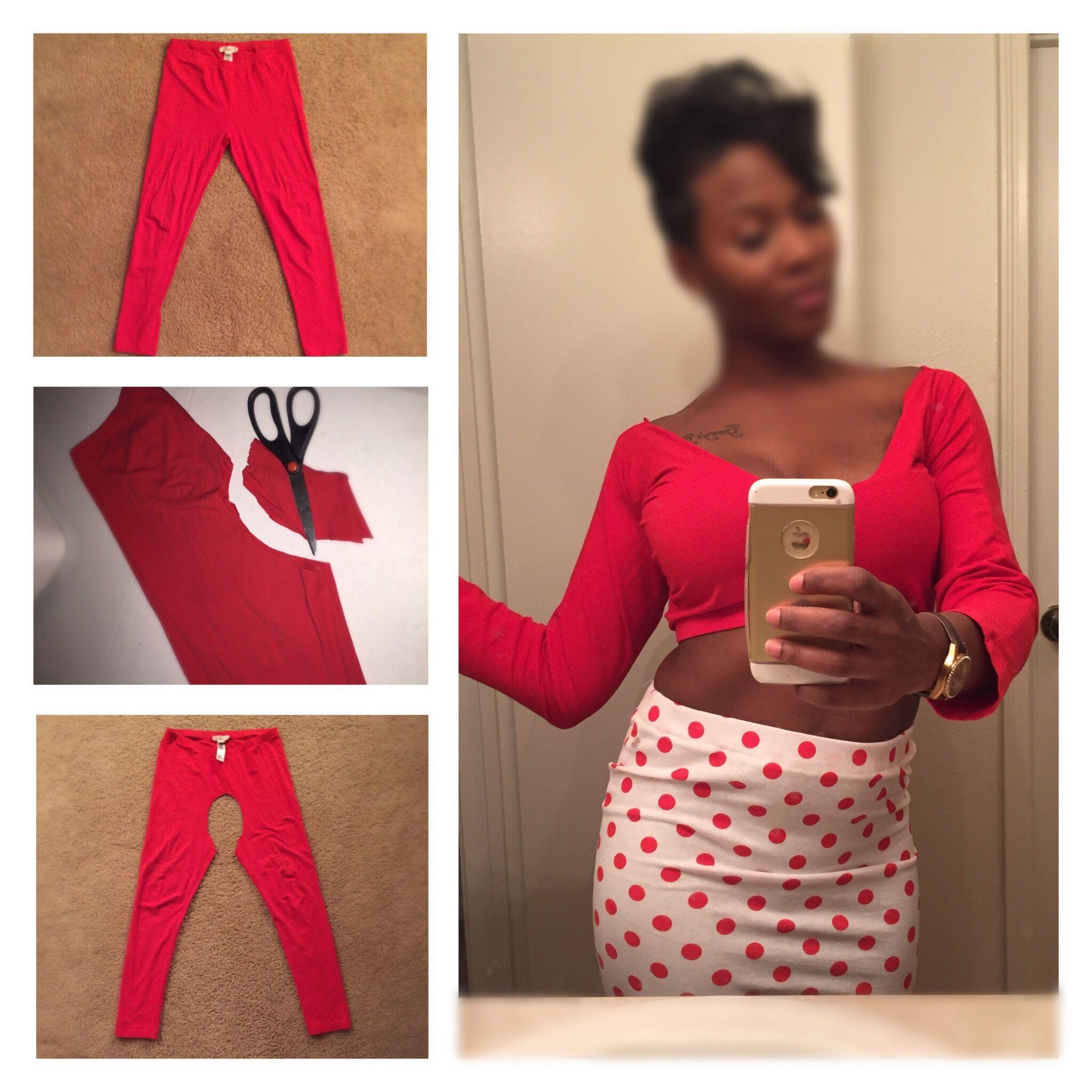 f72ff411f0a DIY  Turn your old leggings into a fun crop top! Pic below!