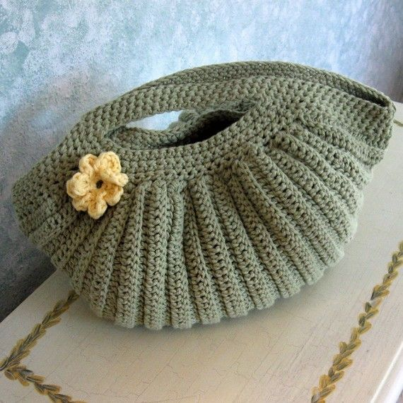 Crochet Purse Pattern Pleated Clam Shell Shape With Flower Trim PDF ...