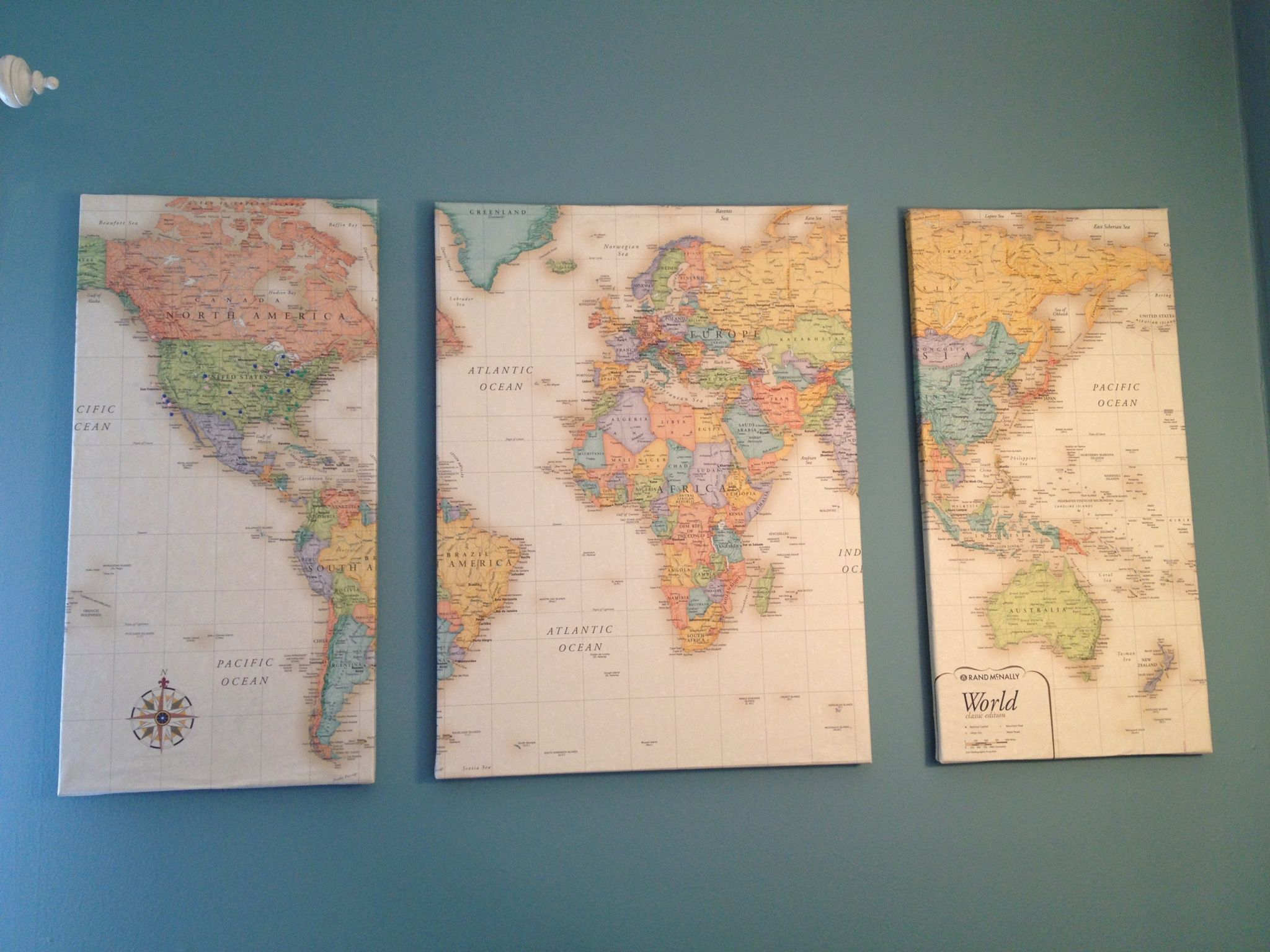 Lay a world map over 3 canvas foam core would be cheaper cut into lay a world map over 3 canvas cut into 3 pieces coat each canvas with mod podge and wrap the maps around them like presents let dry and hang on the wall gumiabroncs Gallery
