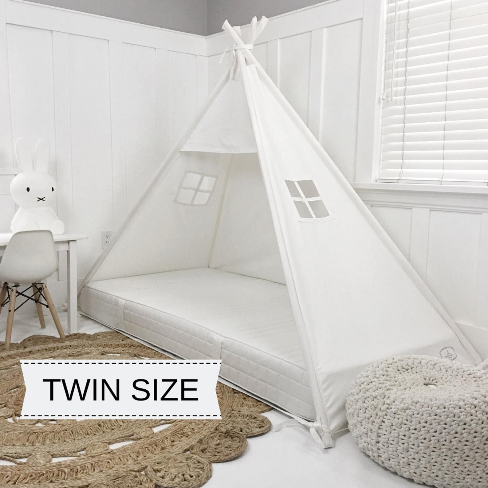 Play Tent Canopy Bed in Cream Canvas Twin Etsy in 2020