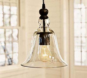 WinSoon Ecopower 1 Light Vintage Hanging Big Bell Glass Shade Ceiling Lamp Pendent Fixture - - Amazon.com