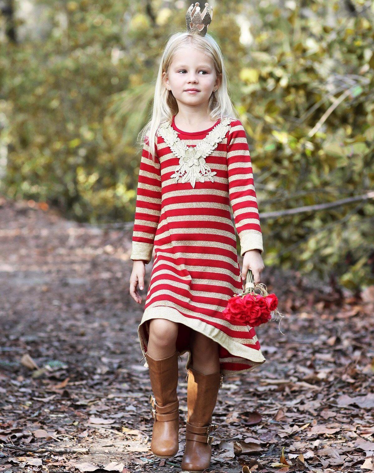 Girls hilo festive sweater dress with floral applique products