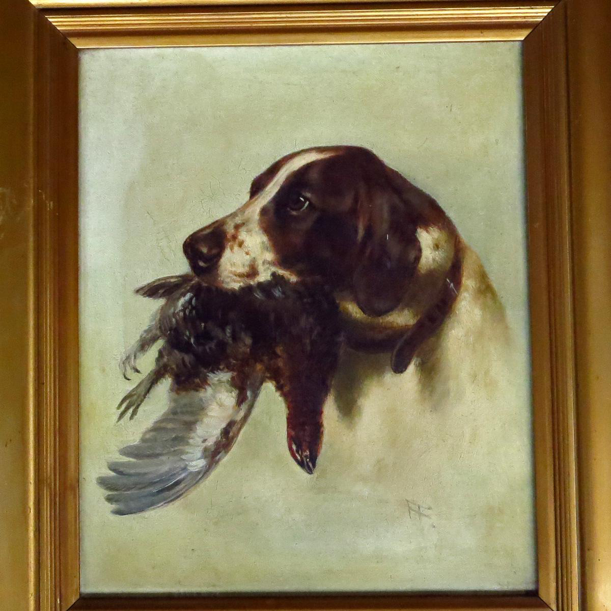 e703795ebbca 19th Century English School portrait of the head of a spaniel and pheasant,  oil on canvas monogrammed FF. Fine example of a sporting portrait so