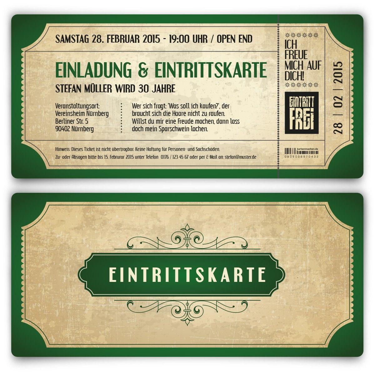 Einladungskarten - Vintage in Grün #geburtstag #einladung ... - Einladungskarten Vip Ticket