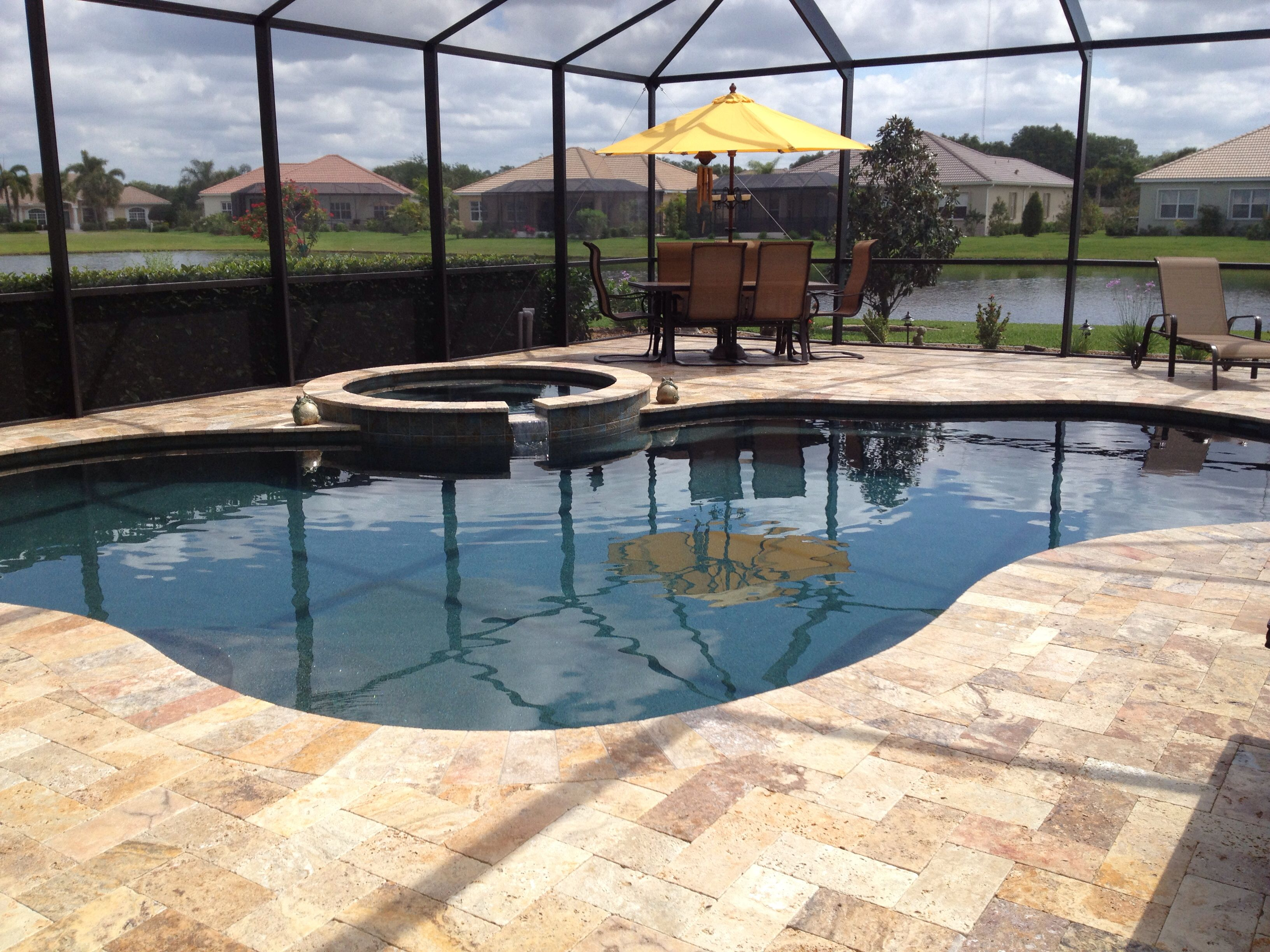 Pool And Spa Renovation With Autumn Leaves Travertine Deck And