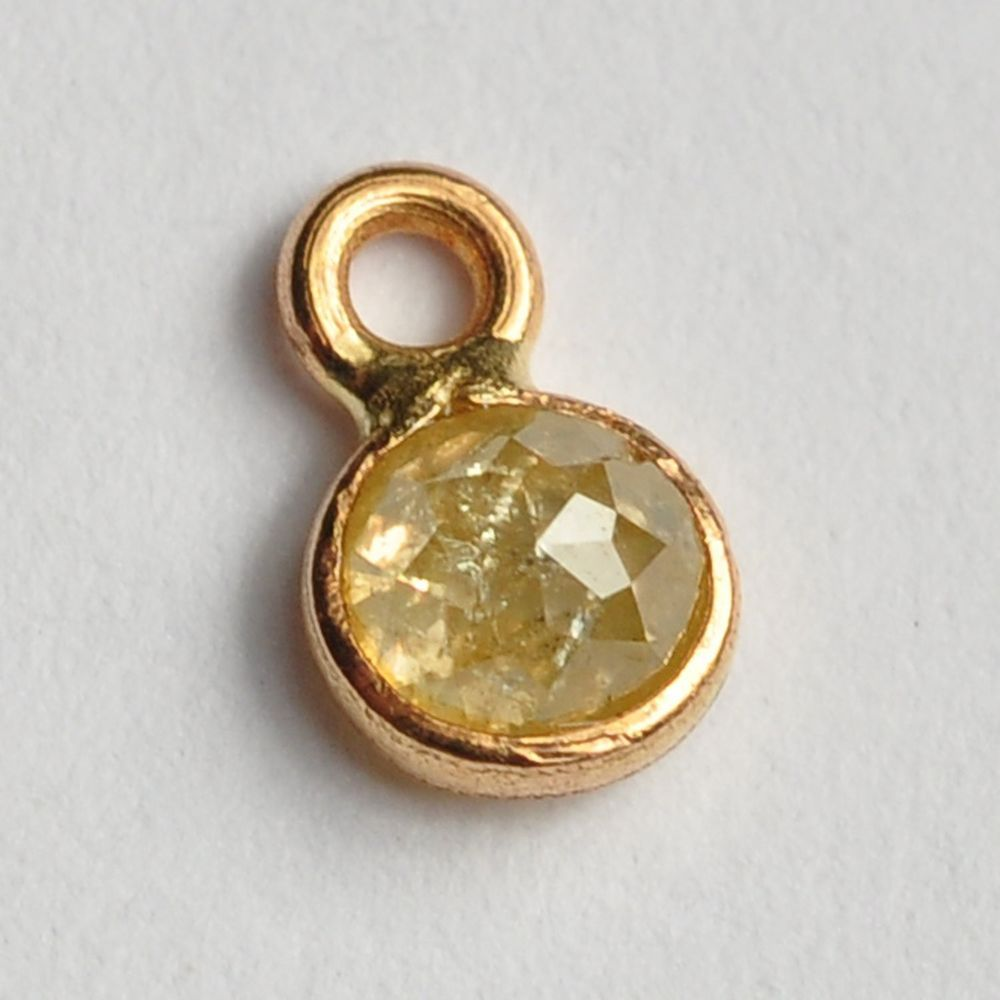 Mm k solid yellow gold rose cut faceted rustic yellow diamond