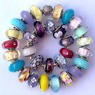 30 Pandora 925 ale silver beads glass murano white green yellow flower summer