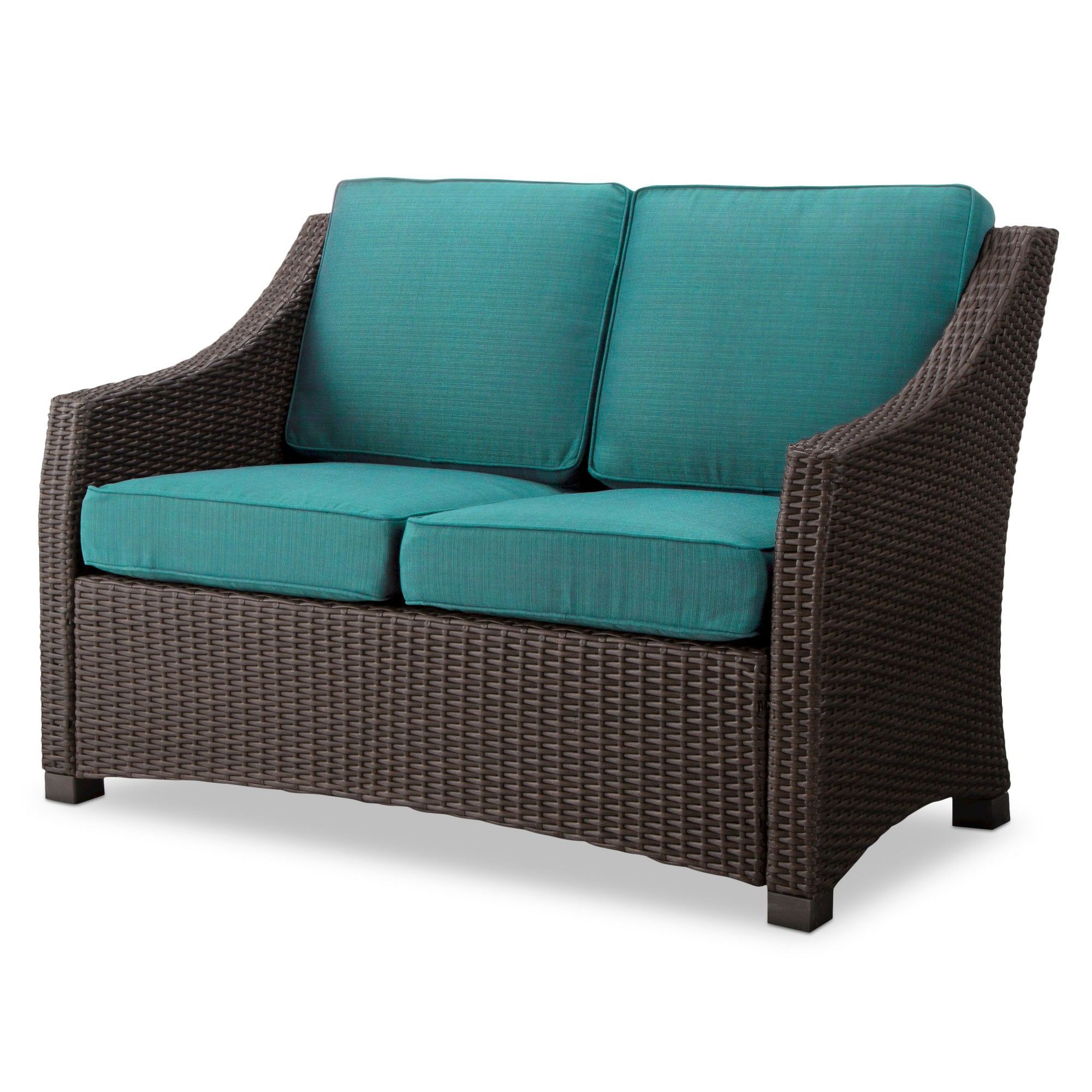 Belvedere Wicker Patio Loveseat Turquoise Threshold