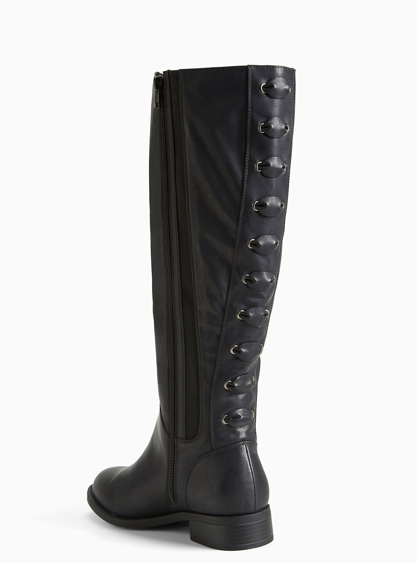 Faux Leather Lace Up Back Boots (Wide