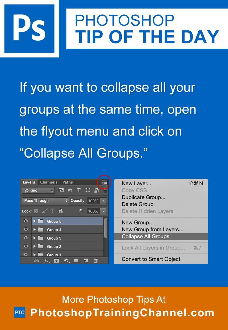 Collapse all groups tips design