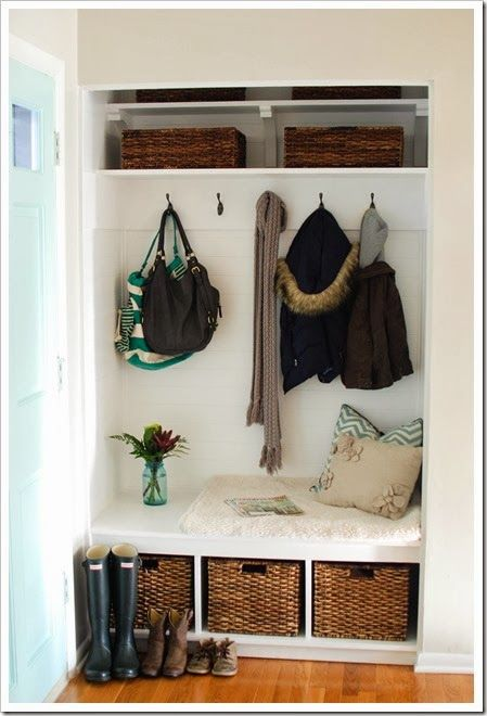 Turning A Foyer Closet Into A Mudroom Home Entryway