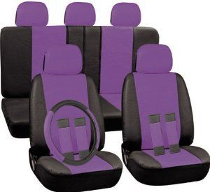 PU Faux Leather Seat Covers Full 17 Piece Set Purple And Black For Car Truck SUV