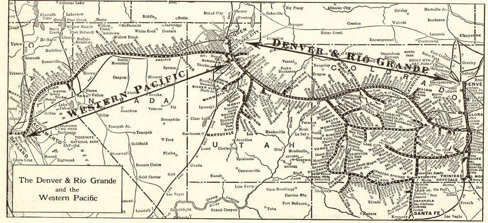 1917 Antique Denver Rio Grande Railroad Map Vintage Collectible - Rio-grande-on-us-map