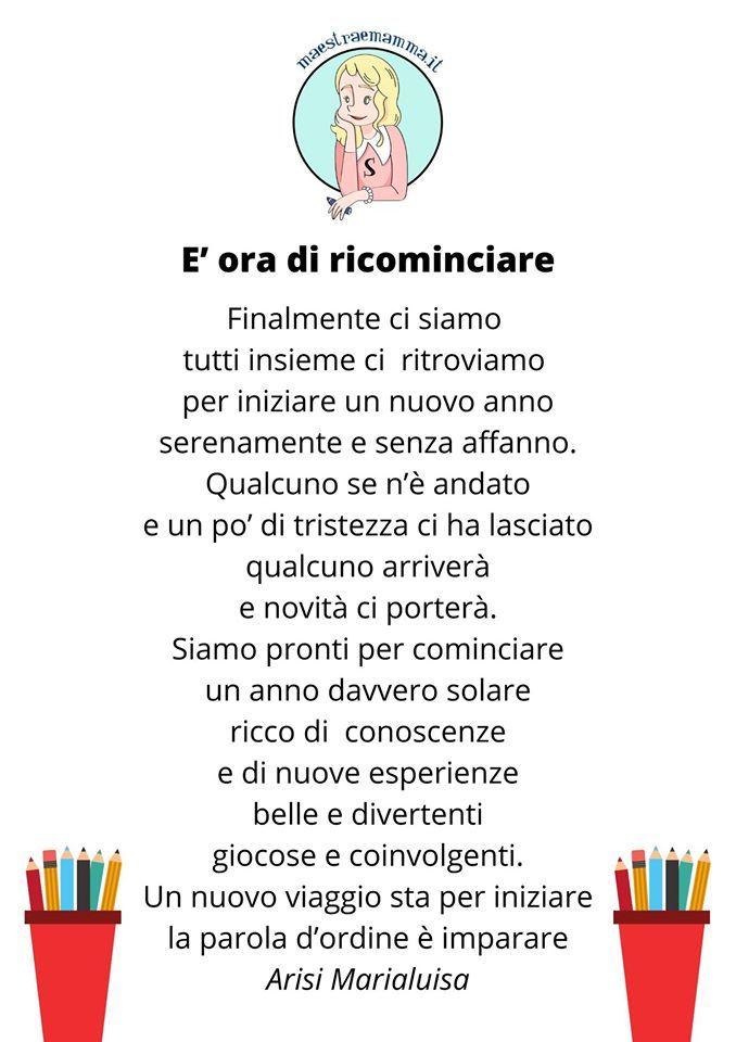 Poesia Per Il Primo Giorno Di Scuola E Ora Di Ricominciare Nel 2020 Scuola Primo Giorno Di Scuola Filastrocche