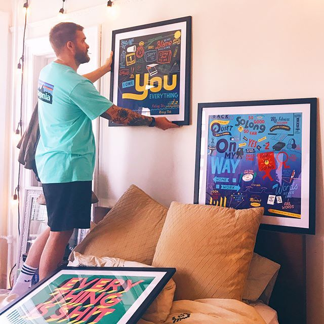 Finished off the weekend by finally hanging all my favorite Philly artists work. Still need something from @deweysaunders // Also taking recos for new jawns to peep 👀!!!