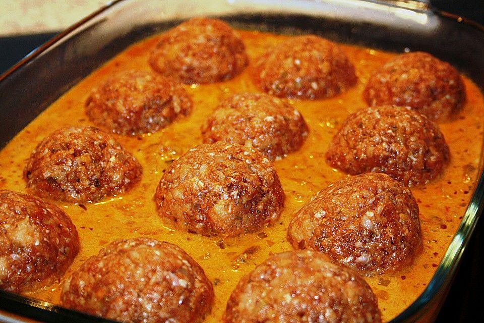 Gratinierte Hack - Laibchen in Tomaten - Champignon - Sauce von Rocky73 | Chefkoch #polpetterezept