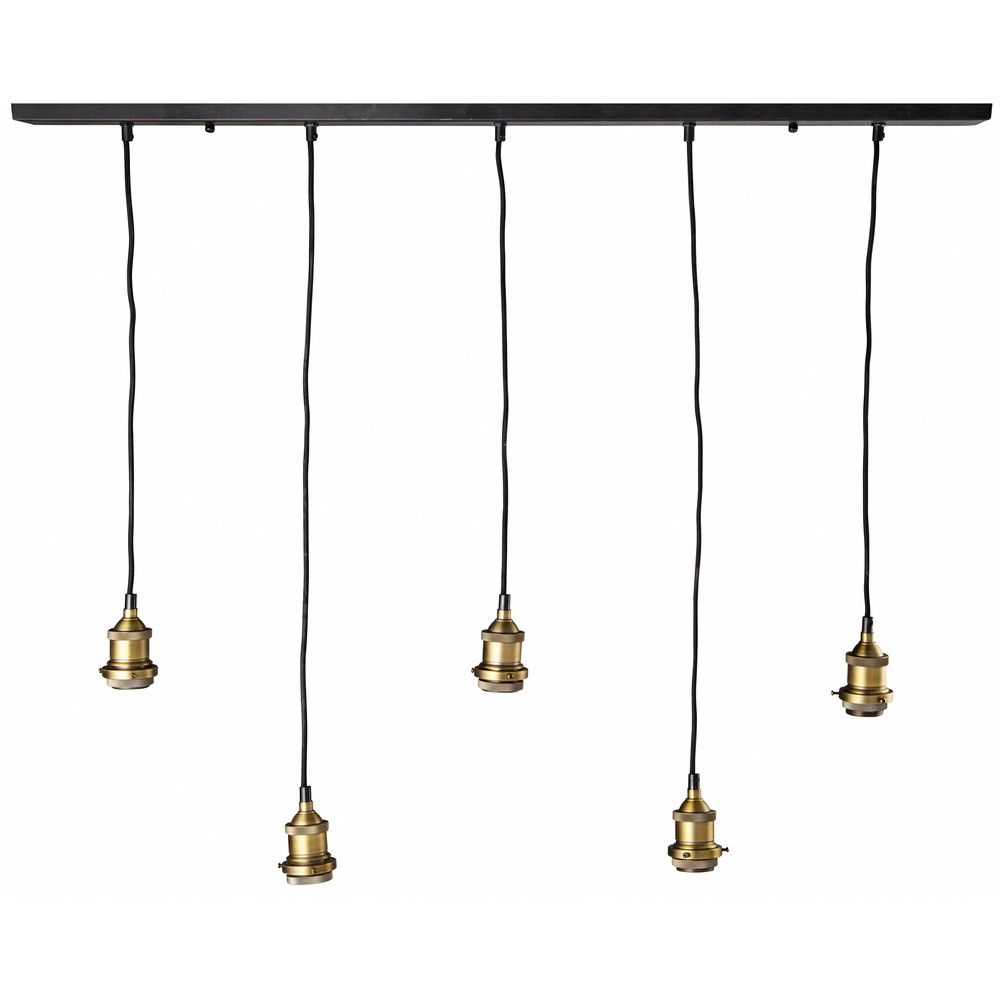 suspension 5 ampoules en m tal noir et bronze. Black Bedroom Furniture Sets. Home Design Ideas