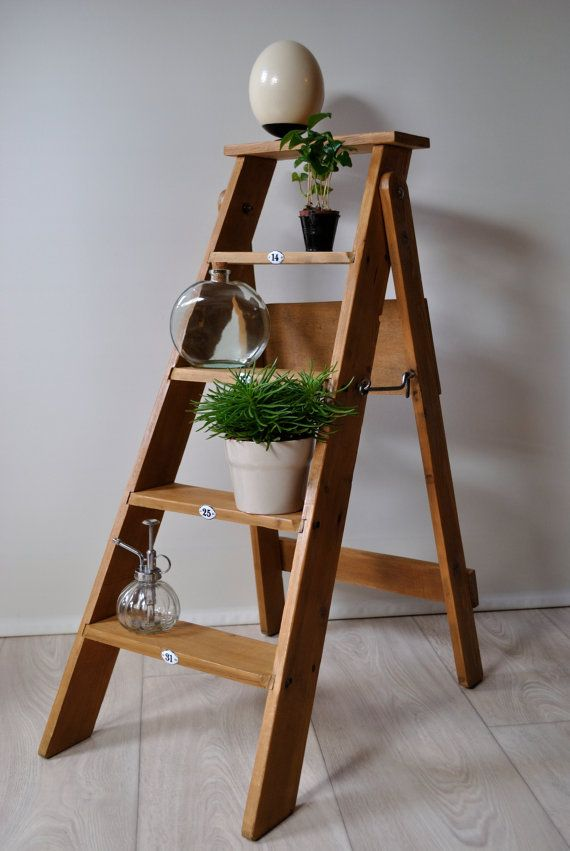 wooden stepladder decoration pinterest. Black Bedroom Furniture Sets. Home Design Ideas