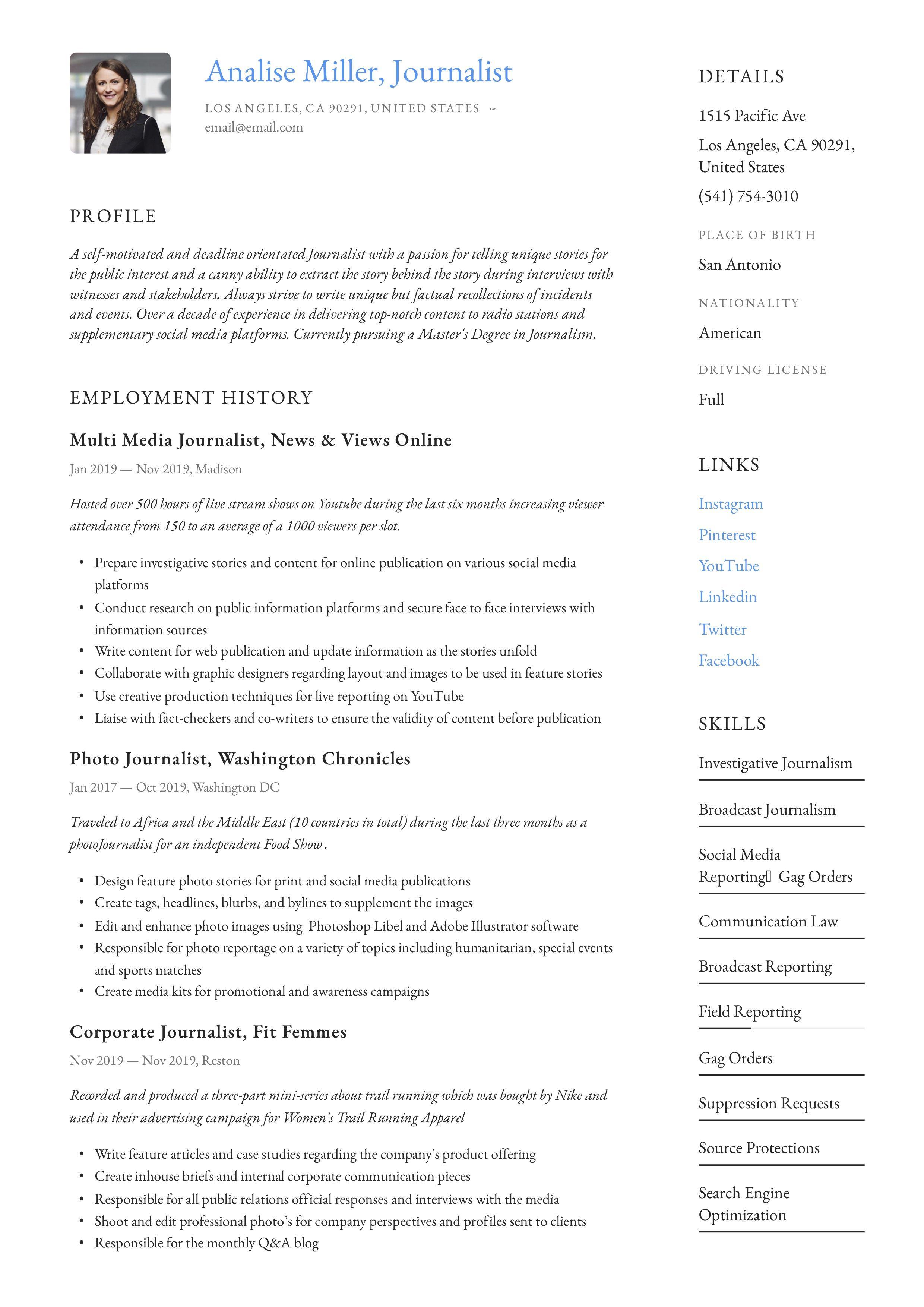 Journalist resume writing guide in 2020 sales resume
