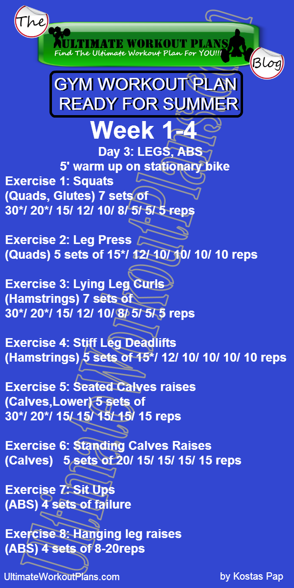 GYM WORKOUT PLAN READY FOR SUMMER MEN DAY 3 LEGS ABS UltimateWorkoutPlans