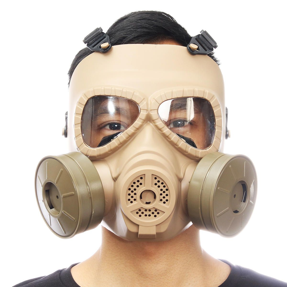 Breathable Gas Mask Double Filter Fan CS Edition