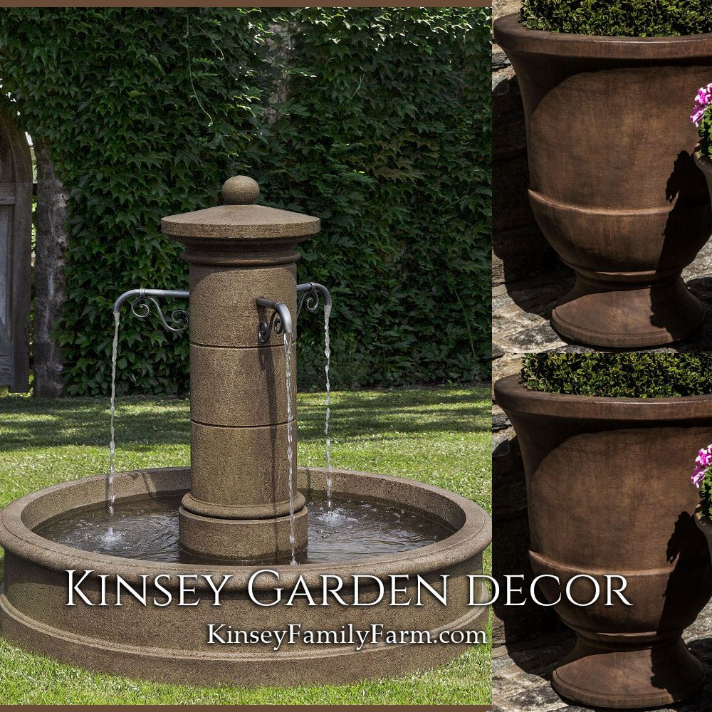 Kinsey Garden Decor Large Avignon Outdoor Water Fountain Urn Planters Set Cast Stone Concrete Cement Fre Water Fountains Outdoor Diy Garden Fountains Fountain
