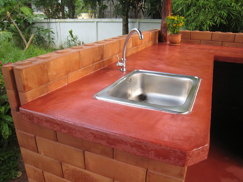 We Chose Poured In Place Concrete Countertops For Our Outdoor Kitchen Because Of Their Strength Ability To Withstand The Elements And Resistance Wear