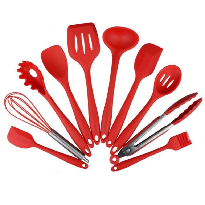 Exceptional New 10Pcs Silicone Kitchen Utensils Cooking Utensil Set Spatula Spoon Ladle  Spaghetti Server Slotted Turner Cooking