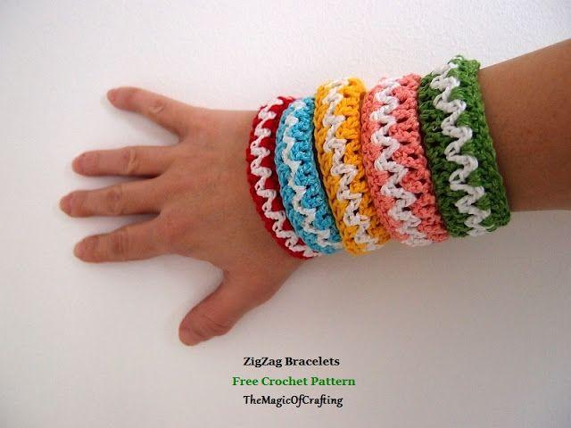 Free Crochet Patterns And Diy Crochet Charts Zigzag Bracelets