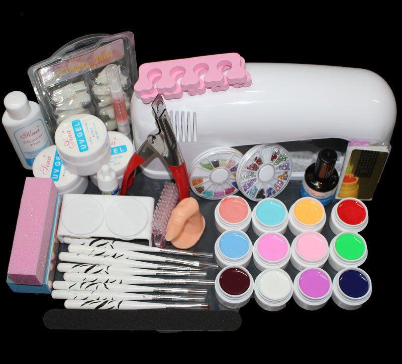 Full Pro 9W White Cure Lamp Dryer & 12 Color UV Gel Nail Art Tips ...