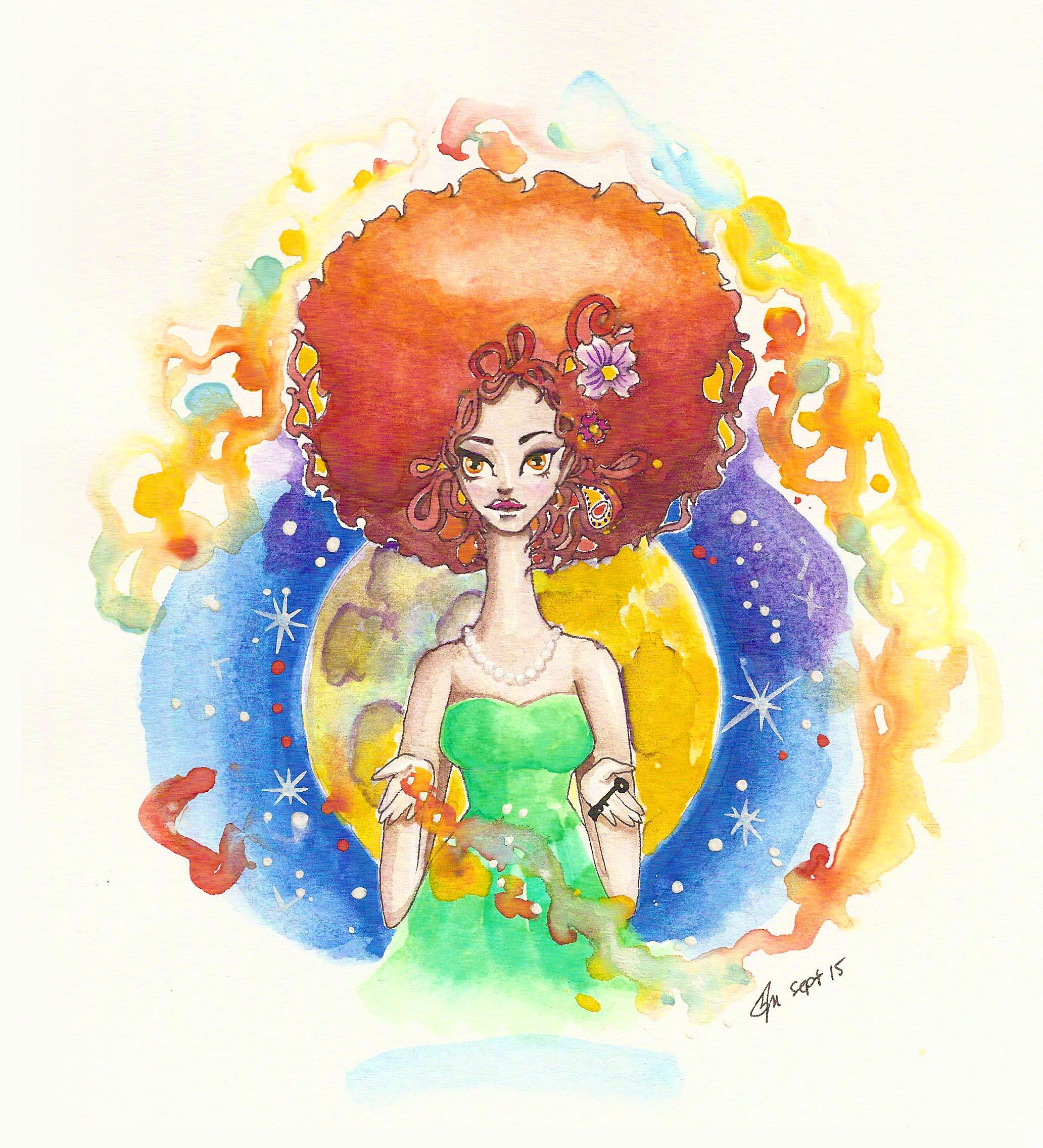 Moon goddess watercolor painting print NOW available for
