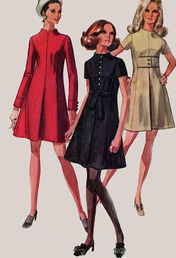 1960s MOD Dress with Princess Seaming and Front Inverted Pleat ...