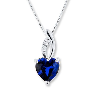 Jared LabCreated Sapphires Blue White Necklace Sterling Silver