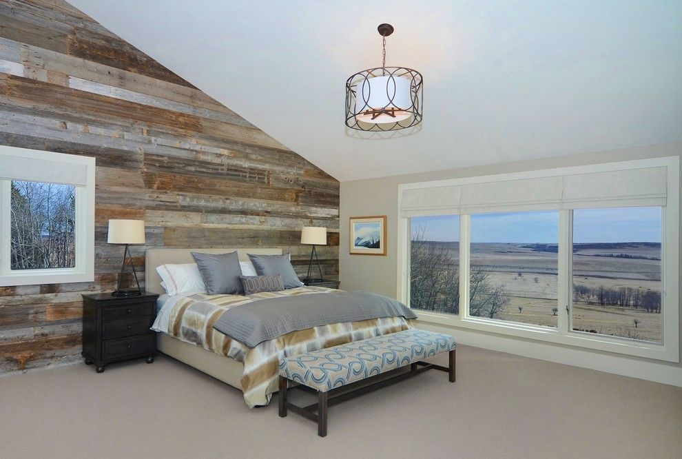 reclaimed wood wall Bedroom Contemporary with custom bench ...