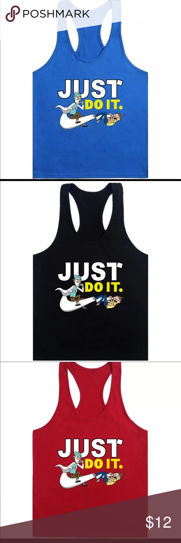 "e9f2b57fc67929 Rick and Morty ""Just Do It"" Nike Tank Top Rick and Morty Nike Just Do It  Tank Top 4 Colors Nike Shirts Tank Tops"