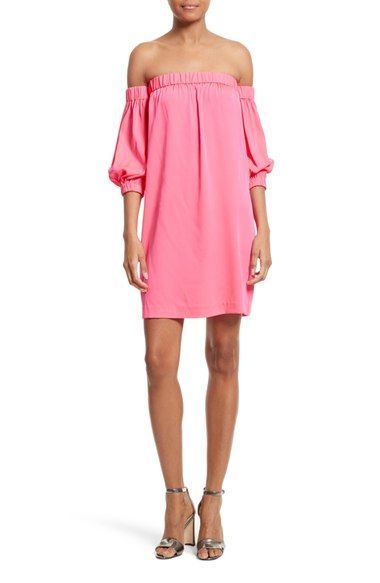MILLY Off The Shoulder Stretch Silk Dress. #milly #cloth #