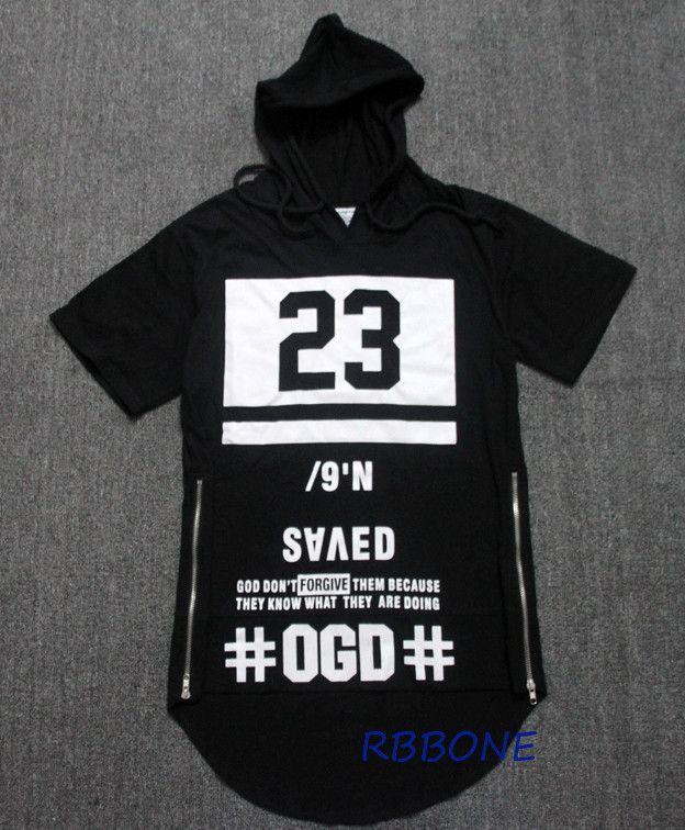 7497fde656efb3 Longline T-shirt Hip Hop Swag Kanye West Tshirt Men Black 23 Tee Brand  Clothing…