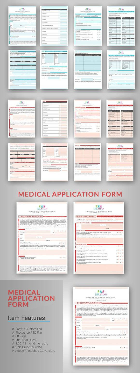 Medical Application Form  Stationery Templates