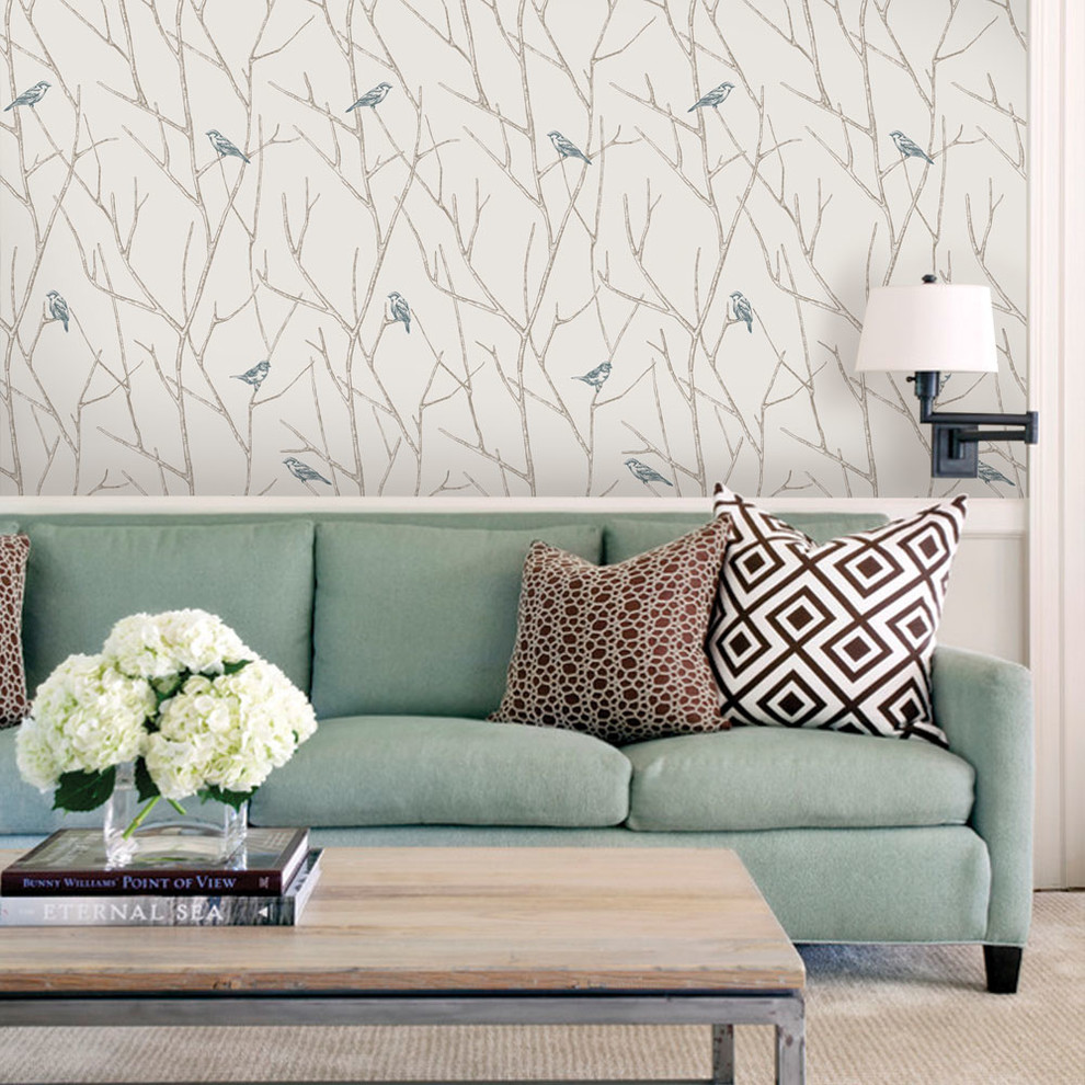 Branch Birds Wallpaper, Peel and Stick Contemporary