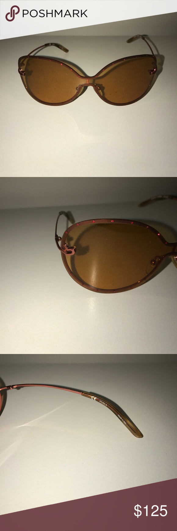 7b3495dd323 Brand-new authentic Furla sunglasses 100% authentic brand-new for Furla chrome  hearts aviator sunglasses brown frame with red Swarovski crystals accenting  ...