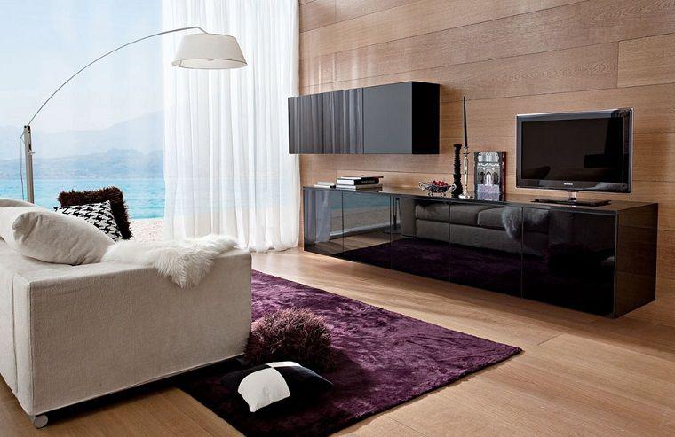 Arredamento moderno per il soggiorno con un mobile nero ...
