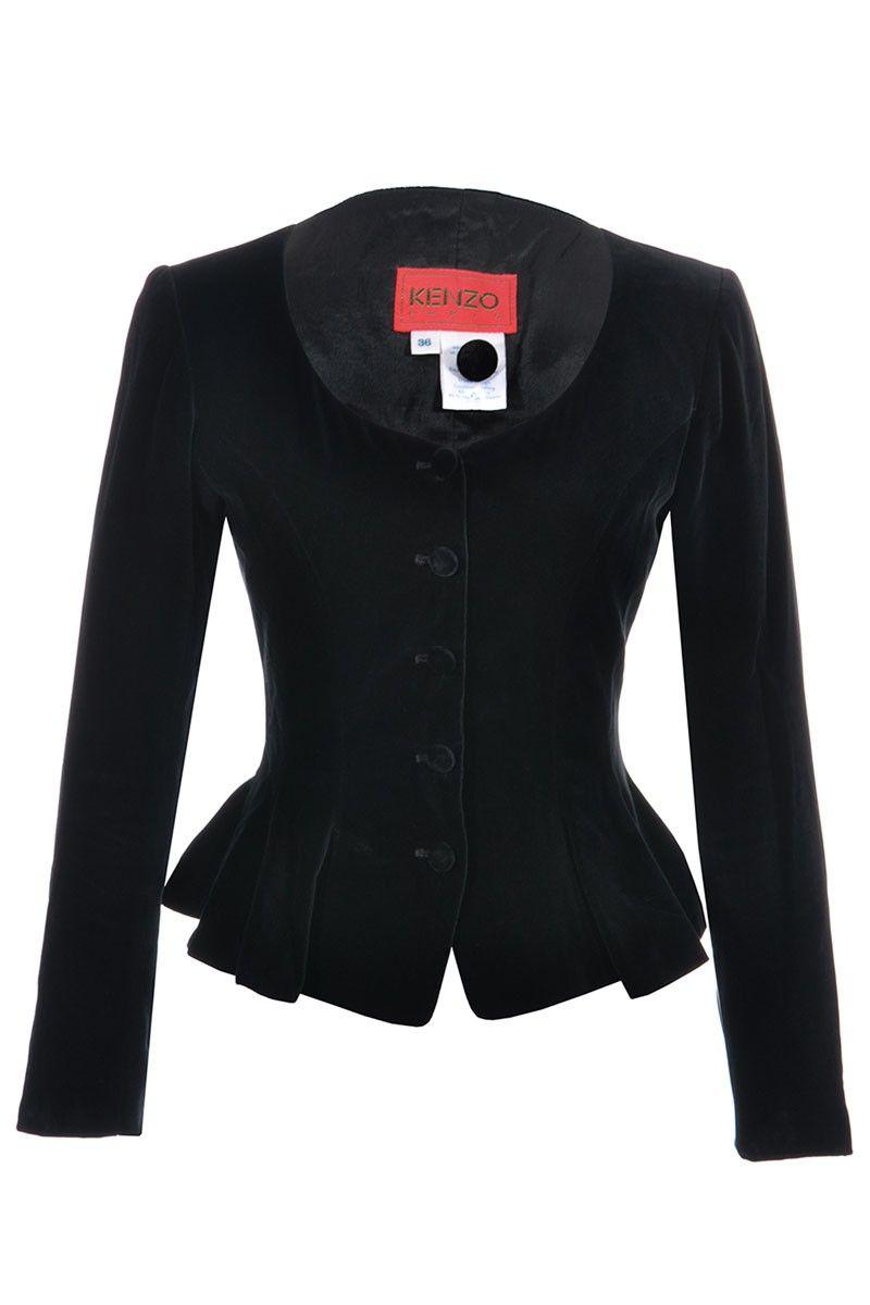 Kenzo | Taillierte Vintage Samtjacke mit Schößchentaille, Gr. S | Kenzo Jacke | mymint-shop.com | Ihr Online Shop für Secondhand / Vintage D...