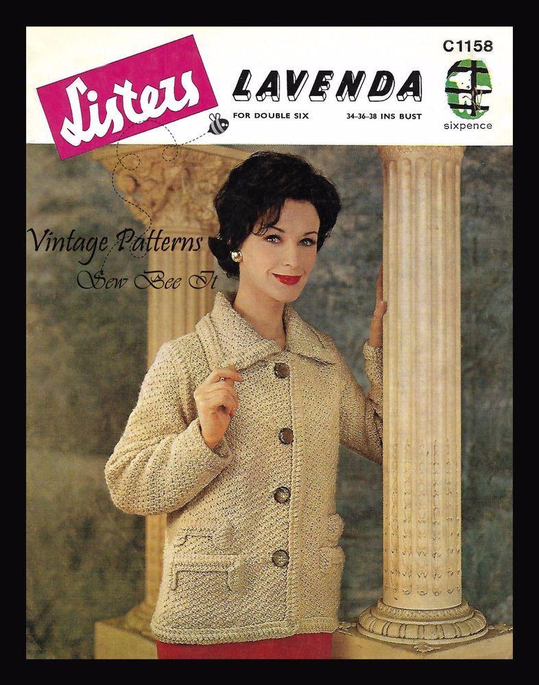 af60db924 Lister Lavenda Double 6 C1158 1950 s Knitting Pattern Lady s Jacket Bust 34  -38