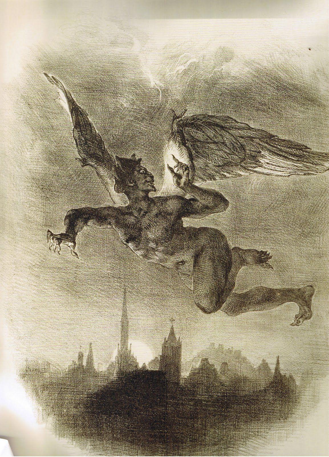 Mefistófeles en vuelo. Por Eugène Delacroix, 1828. http://iglesiadesatan.com/